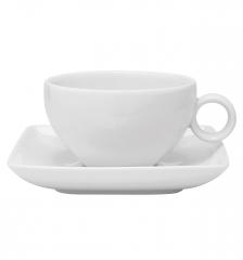 Набор чашка чайная (240 мл) с блюдцем Carre White