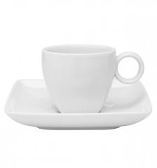 Набор чашка кофейная (80 мл) с блюдцем Carre White
