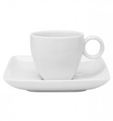 Набор чашка кофейная (140 мл) с блюдцем Carre White