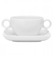 Набор чашка суповая (320 мл) с блюдцем Carre White