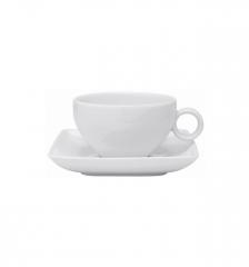 Набор чашка чайная (350 мл) с блюдцем Carre White